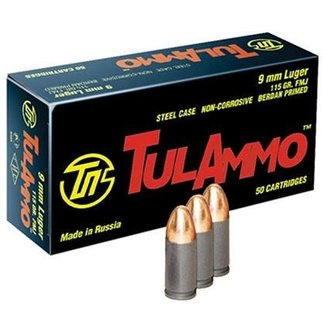 TulAmmo 9mm Luger 115 Gr FMJ Steel Case 2000RS (NON-CORROSIVE) PICK-UP ONLY