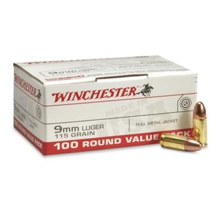 Winchester Winchester USA Ammo 9mm 115gr FMJ Case Of 500 USA9MMVP