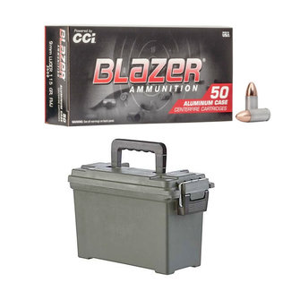 CCI CCI Blazer 9mm Ammunition 115 Grains FMJ 500RS/Case + AMMO CAN