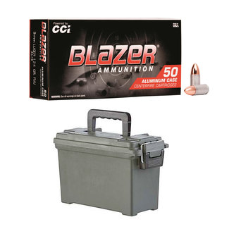 CCI CCI Blazer 9mm Ammunition 124 gr FMJ 500RS/Case + AMMO CAN