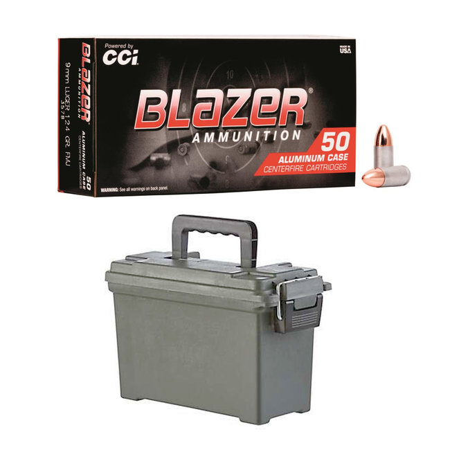 CCI Blazer 9mm Aluminum 124 gr FMJ 500RS/Case + AMMO CAN