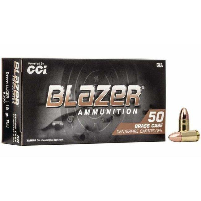 CCI Blazer 9mm Brass 115 Grains FMJ 50rs/Box