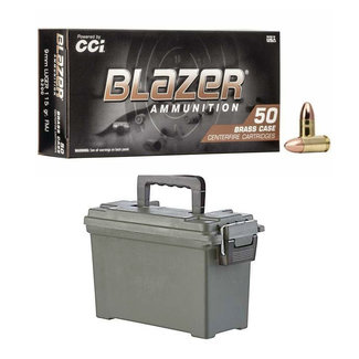 CCI CCI Blazer 9mm Brass 115 Gr FMJ 500Rs/Case + Ammo  Can (IN-STORE PICK UP ONLY)