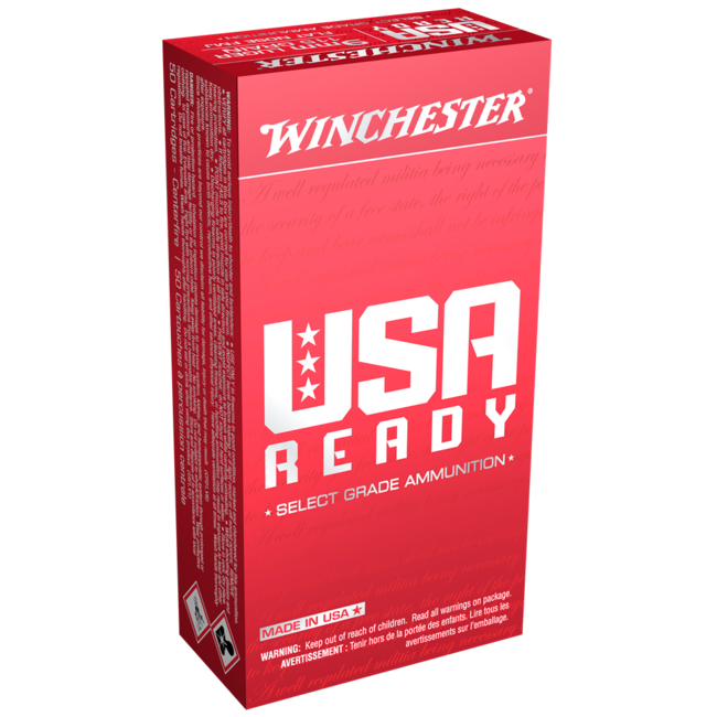 WINCHESTER USA READY 9MM LUGER 115GR FMJ-FLAT NOSE 500RS/CASE