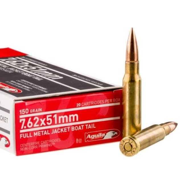 Aguila 7.62×51/308 Win 150 Grain FMJ-BT Ammunition Box Of 20