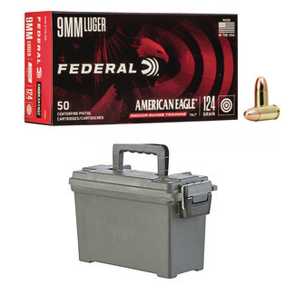 Federal Federal  American Eagle 9mm 124gr FMJ 500RS With Ammo Case (IN-STORE PICK UP ONLY)