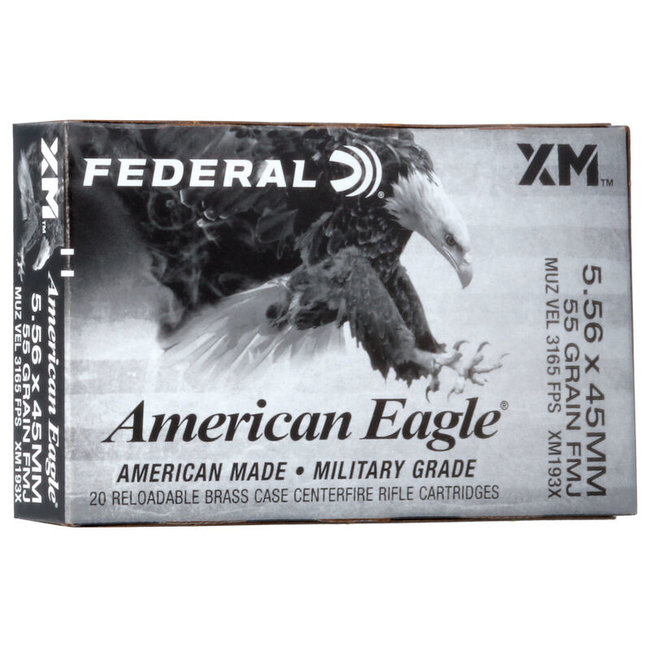FEDERAL AMERICAN EAGLE 5.56X45MM 55GR FMJ 20RDS