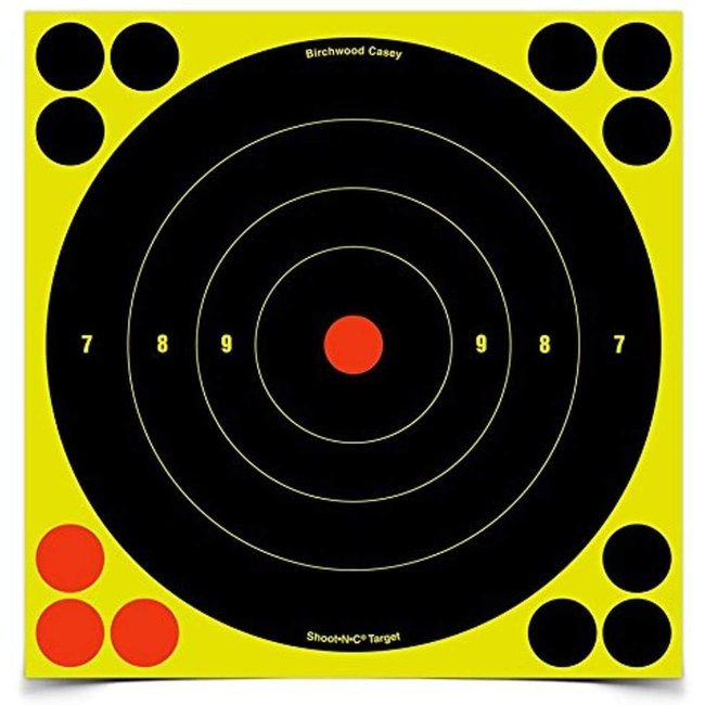 Birchwood Casey Shoot-N-C Bull's Eye Target (8-Inch) Pack of 6 with 72 Pasters