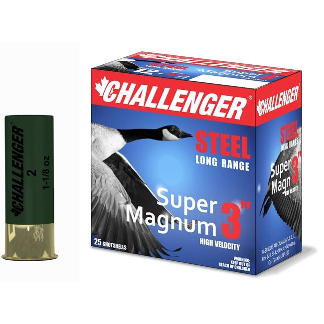 "Challenger 12 GA Steel Super Magnum 3"" 1-1/8 Oz #2 Box Of 25"