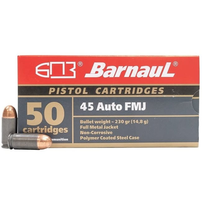 BARNAUL .45AUTO FMJ 230GR  STEEL CASE 50RS/BOX