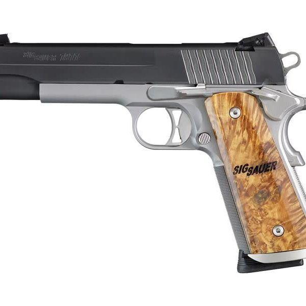 Sig Sauer 1911 STX Semi Auto Pistol 45 ACP, 5 in, Wood Grp 8+1 Rnd, Adj  Combat Night, S/S Frame