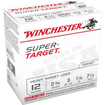 WINCHESTER Winchester Super-Target Trap Load 12 GA, 2-3/4'', #7.5, 1-1/8 oz, 2-3/4 dr, 25 Rnds, in box