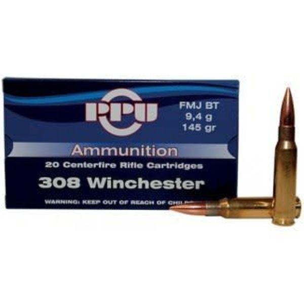 PPU PPU Rifle 308 win Ammo,FMJBT,20rd/Box 308Win145Gr single