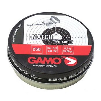 GAMO Gamo Match Flat Nose Lead .22 Pellets 250 Count Tin