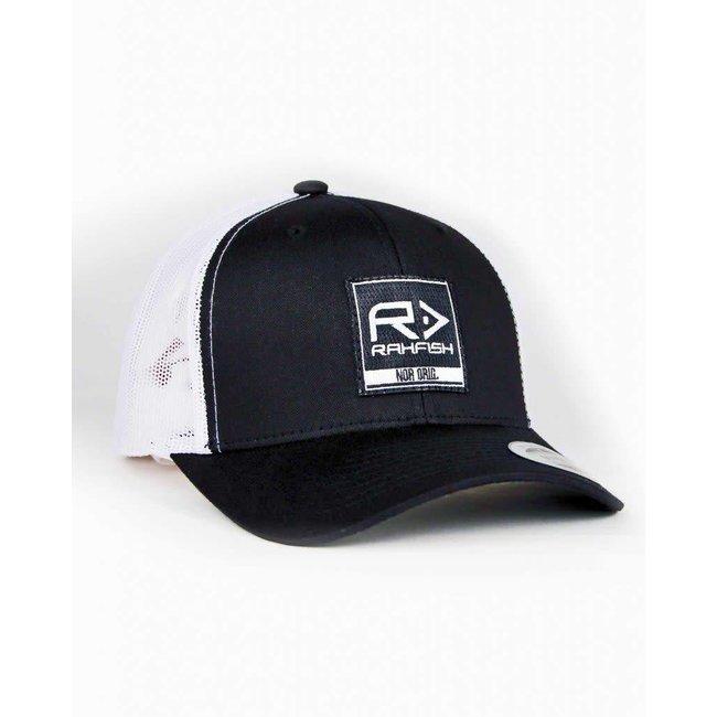 RAHFISH BIG R 2×2 TRUCKER HAT – BLACK / WHITE