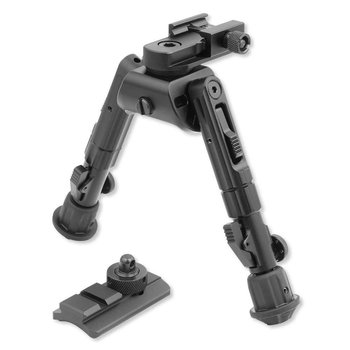 Leapers UTG Heavy Duty Recon 360 Bipod 5.59'' to 7.0'' Picatinny/Swivel Stud Mount Aluminum Matte Black TL-BP02