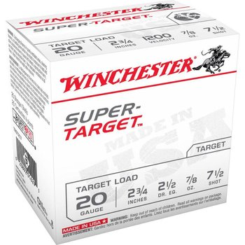 "WINCHESTER Winchester Super Target 20 Gauge #7.5 Lead Shot 2-3/4"" 7/8 Oz 25 Rounds"