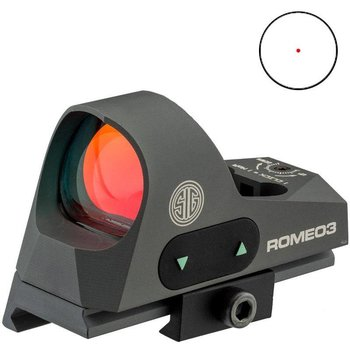 Sig Sauer Romeo 3 Reflex sight 1x25mm, 3 moa red dot 1.0 MOA adjust M1913 with riser, Graphite