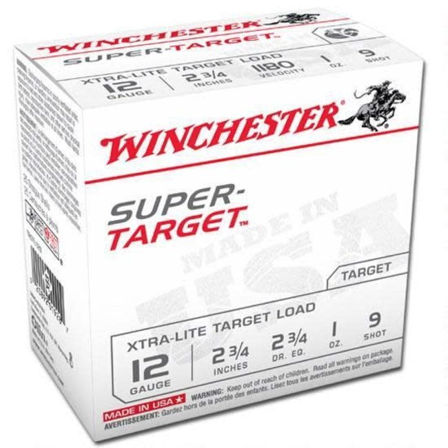 """Winchester Super Target 12 Ga 2.75"""" #9 Lead 1 oz - Can of 250 Rounds"""