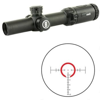 Bushnell AR Optics 1-4x24mm Rifle Scope BTR-2 Illuminated Reticule 30mm Tube 0.5 MOA Adjustments First Focal Plane Side Parallax Adjustment Matte Black AR71424I