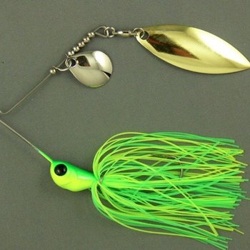 Ultra Tungsten T-Blade Tungsten Spinnerbait - Lemon-Lime Double Willow Silver 1/2 oz