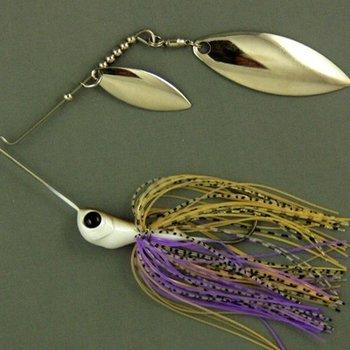 Ultra Tungsten T-Blade Tungsten Spinnerbait - Purple Ayu Double Willow Silver 1/2 oz