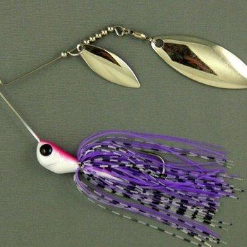 Ultra Tungsten T-Blade Tungsten Spinnerbait - Purple Tiger Double Willow Silver 1/2 oz