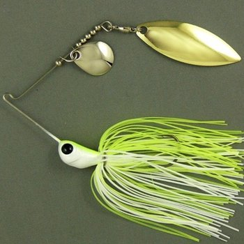 Ultra Tungsten T-Blade Tungsten Spinnerbait - White Chartreuse Double Willow Silver 5/8 oz