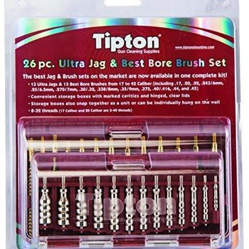 Tipton Tipton Ultra Cleaning Jag and Best Bore Brush Set 26-Piece Male Thread Nickel Plated Brass and Bronze