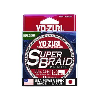 Yo-Zuri YO-ZURI SUPERBRAID LINE, 50LB(0.36mm). X 150YD. DARK GREEN
