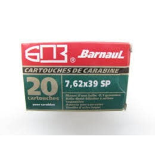 Ammo 7.62x39mm Barnaul SP 125 Grain 20/Box Steel Case non-corrosive