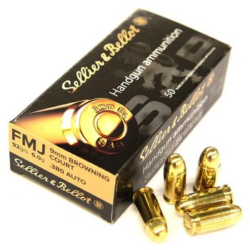 Sellier & Bellot Sellier & Bellot .380 Auto / 9mm Browning Court 92GR FMJ - Box of 50