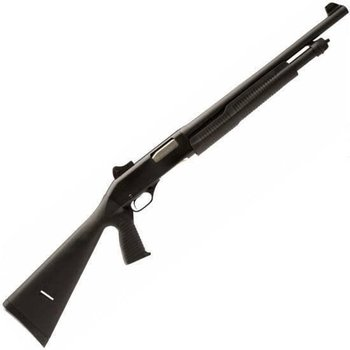 "Savage Stevens 320 Security Pump Action Shotgun 20 Gauge 18.5"" Barrel 5 Rounds Ghost Ring Sight Black Synthetic Stock with Vertical Pistol Grip Black 22439"