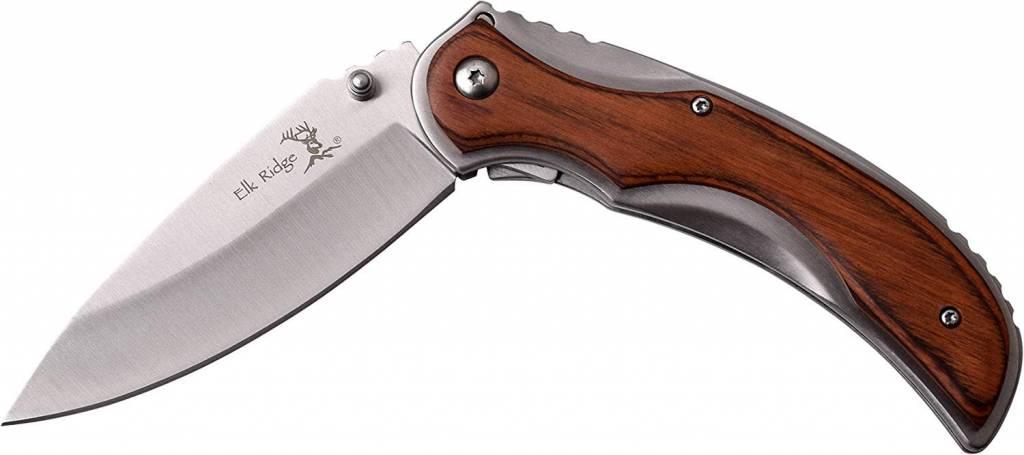 Elk Ridge Elk Ridge Framelock Folding Knife 4 75'' - Brown Pakkawood Handle