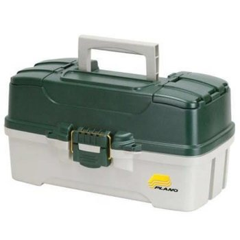 Plano Plano 2-Tray Tackle Box with Dual Top Access, Dk Green/White