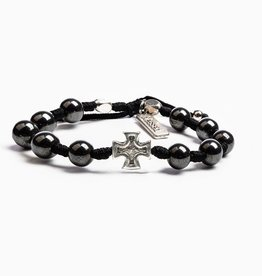 My Saint My Hero - Honor Blessing Bracelet for Men Silver I Black