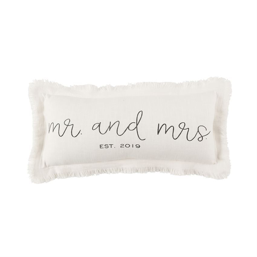 Home Decor Mud Pie Est. 2019 Frayed Lumbar Mr and Mrs Pillow
