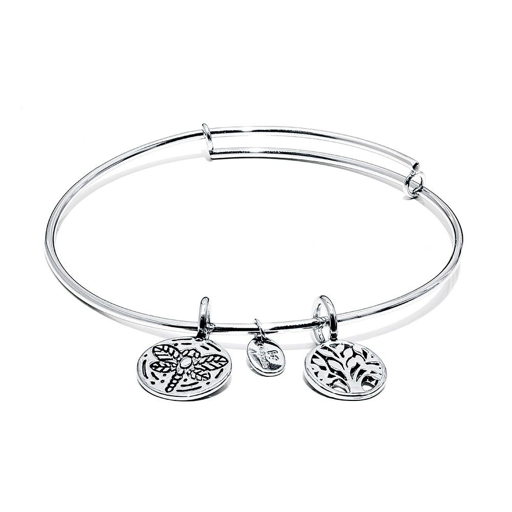 Life Collection - Tree Of Life Expandable Bangle - Standard Size - Silver