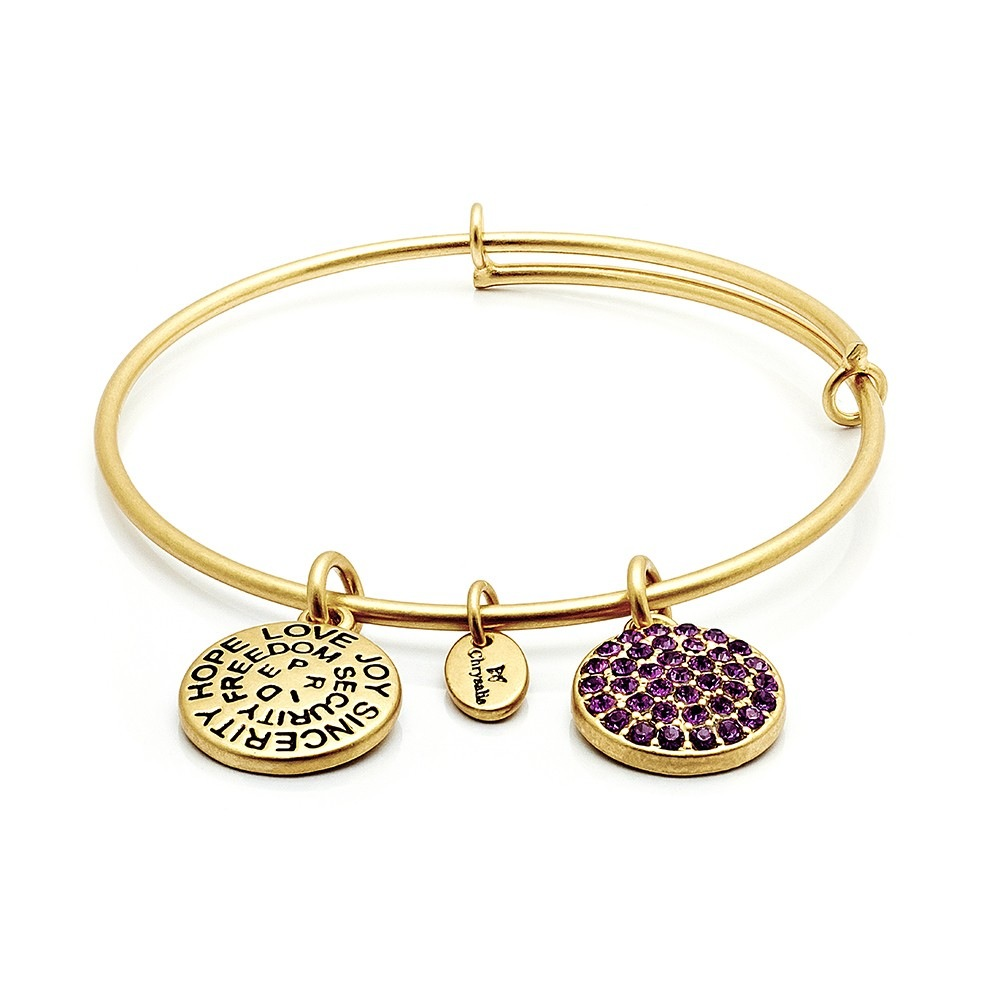 Good Fortune CZ Expandable Bangle - February/Amethyst - Standard Size - Gold