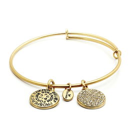 Good Fortune CZ Expandable Bangle - April/Diamond - Small Size - Gold