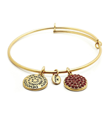 Good Fortune CZ Expandable Bangle - July/Ruby - Standard Size - Gold