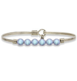 Luca + Danni - Aqua Pearl on Silver Plated Wire Wrapped Bracelet