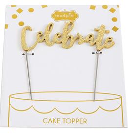 Mud Pie Gold Message Cake Topper/Celebrate