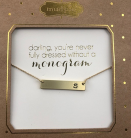 Mud Pie Chelsea Initial Bar Necklace-S