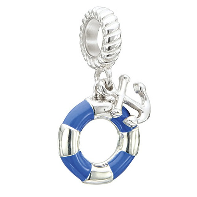 Anchors Away - Anchor & Raft - Sterling Silver with Blue Enamel