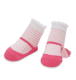 Mud Pie Pink Stripe Tassel Sock