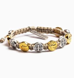 Benedictine Blessing Bracelet - Gold/Silver Medals & Tan