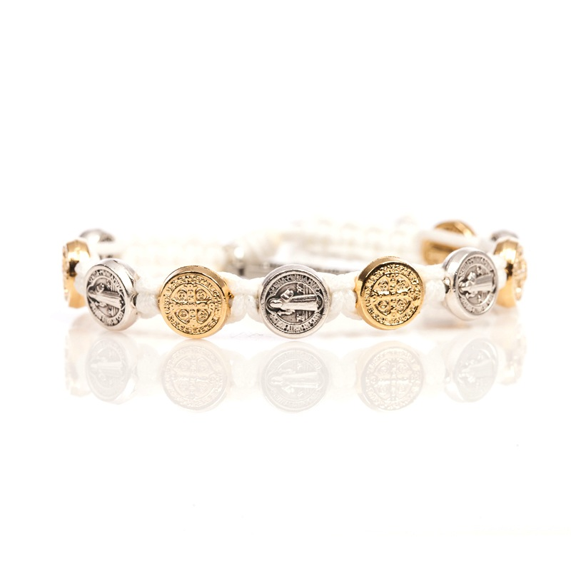 Benedictine Blessing Bracelet - Gold/Silver Medals & White