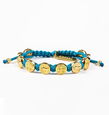 My Saint My Hero - Benedictine Blessing Bracelet - Gold/Turquoise