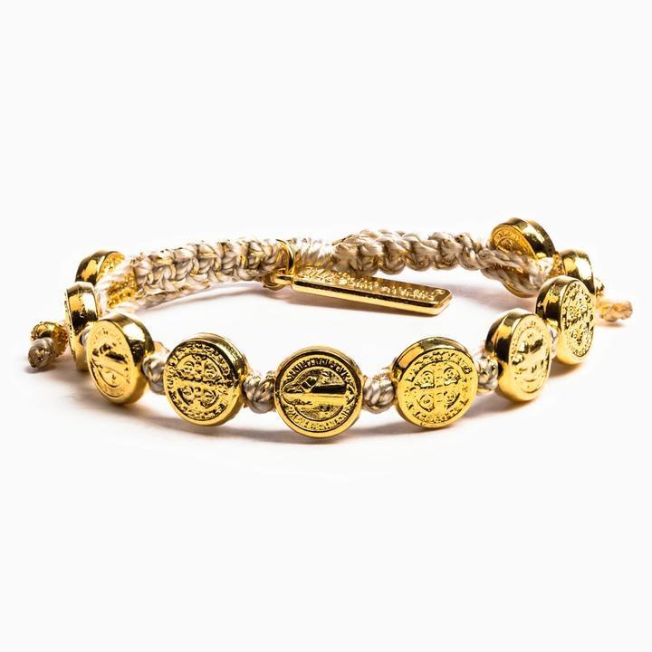 My Saint My Hero - Benedictine Blessing Bracelet - Metallic Gold